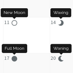 Calendar: Inverted Moon Icons